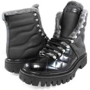 NIB JOHN GALLIANO QUILTED FUR TRIM LACE UP BOOTS